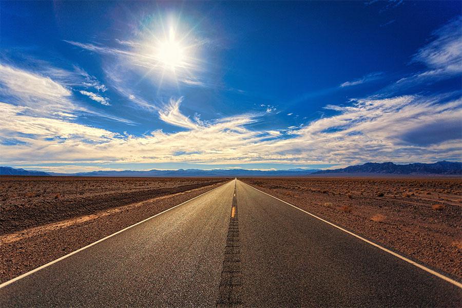 Estrada de viagem em 2021